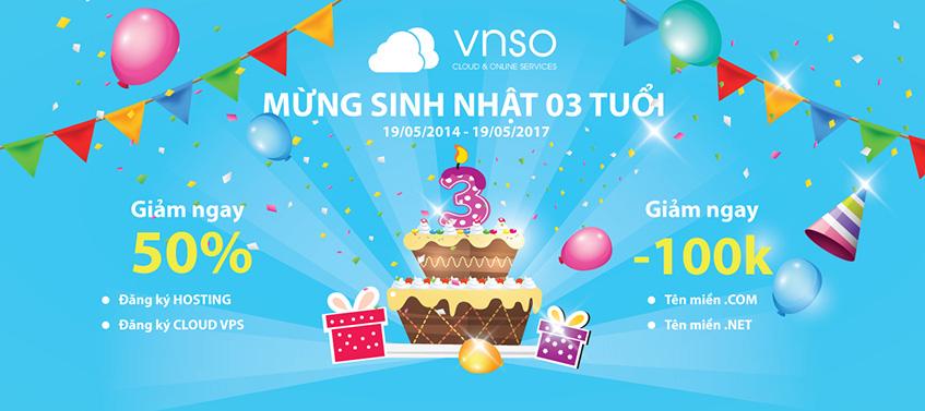 VNSO khuyến mãi lớn mừng sinh nhật 3 tuổi