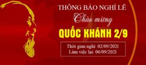 Thông báo nghỉ lễ Quốc Khánh 2/9/2021